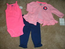 Carter's Baby Girls Flamingo Friends 3pc Set Outfit Clothes Size 3M 3 months NWT