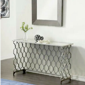 Glass and metal silver contemperory console table