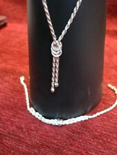 Set - Unique Design - Great Cond. Sterling Silver Rope Chain & Matching Bracelet