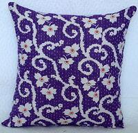 Neuf Handmade Violet Coton Kantha Coussin Housse Floral Décor Oreiller 40.6cm
