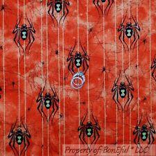 BonEful Fabric FQ Cotton Quilt Orange Black Halloween Spider Glitter Dot Stripe