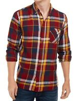 Levi's Mens Shirt Red Size XL Button Down Plaid Printed Pocket-Front $59 #106