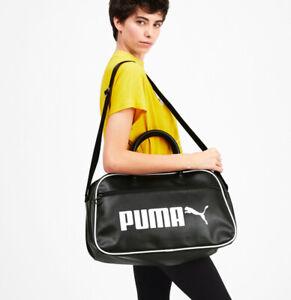 Puma Campus Retro Grip Bag Black  / White Gym Sports School Leisure Bag 076695
