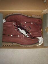 NWB Timberland Oakwell 7 Eye Moc Toe Boots Nubuck Leather Burgundy Mens 9.5