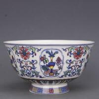 Chinese Qing Dynasty Blue and White Porcelain Famille Rose Eight Treasures Bowl