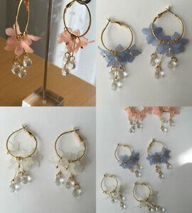 Fashion Women Flowers Hoop Earrings Dangle Wedding Party Jewellery