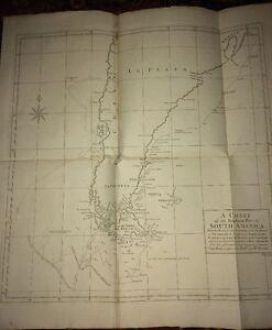 CARTE DE LA PARTIE SUD DE L'AMERIQUE DU SUD,  XVIIIéme.