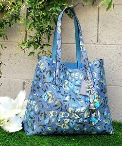 Coach 55181 floral highline tote shoulder bag purse shopper SLATE handbag EUC