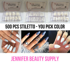 MISS ANA STILETTO CLEAR 500 PC ARTIFICIAL FAKE NAIL TIP 10 SIZE LIKE BEYOU