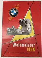 BMW Vintage Motorcycle Poster -Weltmeister 1954 RARE #62717c