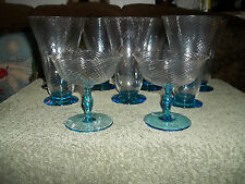 9 Fostoria Glass Blue Footed And Clear Swirl Optic Glasses