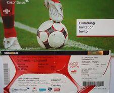 TICKET & Hülle 8.9.2014 Schweiz vs. England