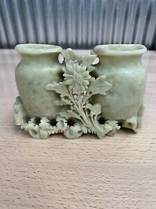 Chinese ~ Carved ~ Soapstone ~ Spill Vase ~ Brush Pot ~ Vintage
