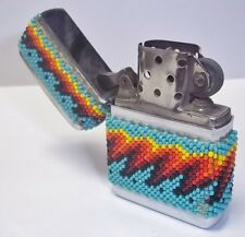 Hand Beaded Native American SW Design Zippo Cigarette Lighter Cut Glass Beads