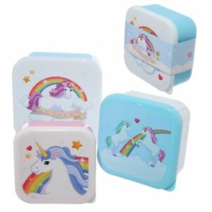 Set Of 3 Unicorn Children's Kids Plastic Snack Lunch Boxes 3pc Set Sandwich Box