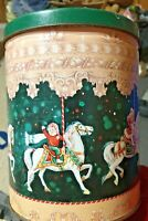"""Decorative Maurice Lenell carousel cookie tin; #carousels, 1994, 6"""" tall"""
