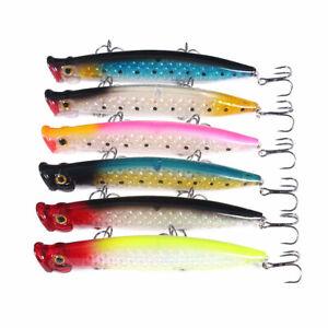 6PCS Set 11cm/13g Topwater Popper Fishing Lure Large Swimbait Bass Wobbler Hook
