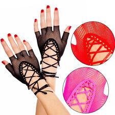 Punk Goth Sheer Lace Up Fishnet Wrist Length Fingerless Gloves Arm Warmers Raver