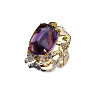 Gorgeous Retro Style Natural Amethyst S925 sterling silver open size ring AS26