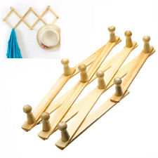 10 Hooks Wooden Expandable Expanding Keys Hat Hanger Wall Mount Folding Rack AU~