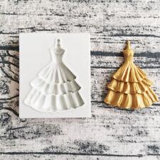 Silicone Fondant Mould Wedding Dress Cupcake Topper Cake Decorating Baking Mold