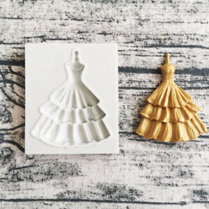 Silicone Fondant Mould Wedding Dress Cupcake Topper Cake Decorating Baking Mold