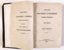 1864 Imperial Russia LOCAL STATUTES of BALTIC PROVINCES CIVIL LAW Russian Book