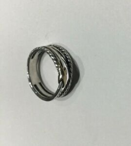 David Yurman Single X Crossover Cable Ring sterling silver with 18k gold size 7