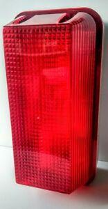 RED BULKHEAD SECURITY WALL LIGHT FITTING + 42w = 60w HALOGEN BULB WEATHERPROOF