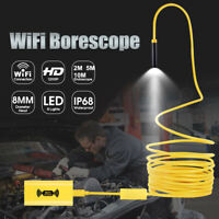 8LED WiFi Endoscope Borescope Inspection HD 1200P Camera IP68 For iOS Android