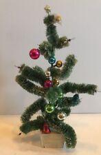 Bottle Brush Christmas Tree Glass Balls Snow Vintage Japan As Is