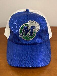 NBA DALLAS MAVERICKS WOMEN'S 47 BRAND SNAPBACK CAP/HAT BLUE/WHT/GRN SEQUIN LOGO