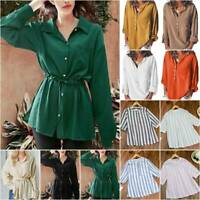 Women Casual Tee Tunic Blouse Tops Long Sleeve Buttons Loose T-Shirts Plus Size