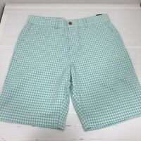 Tommy Hilfiger Seersucker Gingham Teal Blue Green Cotton Shorts Classic Fit 32
