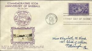 """US BASEBALL FIRST DAY Sc#855 CROSBY CACHET """"Abner Doubleday Field"""