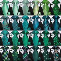 100% Silk Men's Green Tie Mint Green Paisley Ties Set Dark Green Floral Neckties