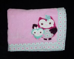 Summer Infant Inc 2012 Mom Baby Owl Blanket Pink Aqua Security Lovey