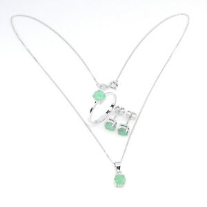Unheated Round Green Emerald 6mm 14K White Gold Plate 925 Sterling Silver Sets