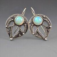 Gemstone Stud Wedding Hoop Proposal Antique Fire Fashion Earrings Silver Opal