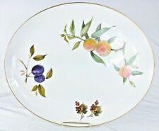 """Royal Worcester Evesham Gold - 15"""" Oval Platter Vintage Fruit England Excellent"""