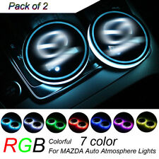 2x RGB LED Car Cup Holder Pad Mat for MAZDA Auto Atmosphere Lights 7 Color