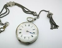 Antique Continental 800 Silver  Chatelaine Watch & Chain C 1880 Working