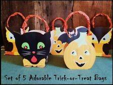 Lot of 5 Halloween Trick-or-Treat Bags Cat Owl & Jol Cardboard & Paper
