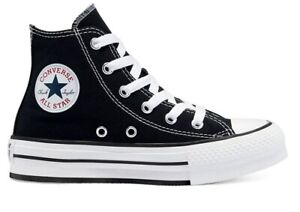 Scarpe donna Converse all star 671107C sneakers alte platform nere chuck taylor