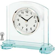 NEU AMS FUNK Tischuhr Funkuhr Mineralglas silber Schreibtisch Büro Wohnzimmer