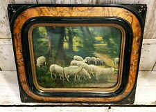 Beautifully Framed Sheep Print ~ Inlaid Mother of Pearl Early Antique Frame