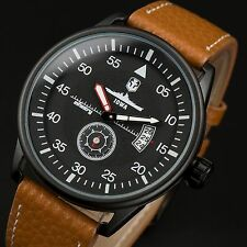 INFANTRY WORLD OF WARSHIPS Mens Quartz Wrist Watch Date Army Sport Brown Leather