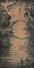 ROBERT HOUSTON Signed Etching RIVER BRIDGE IN LANDSCAPE c1920