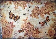 Papel De Arroz Para Decoupage Scrapbooking Vintage Mariposas Rosas 33x49cm DFS380