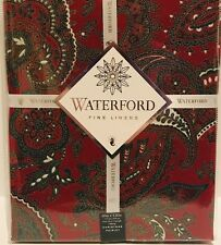 """Waterford Christmas Paisley Maroon, Red, Green Tablecloth Oblong 60"""" X 126"""" NEW"""